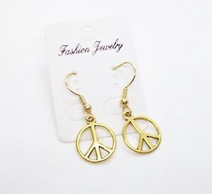 Gold Tone Peace Sign Drop Dangle Pierced Earrings ... Se94