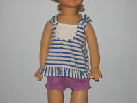 New GYMBOREE Size 0-3 Months White Blue Striped Dress with Purple Diaper Cover