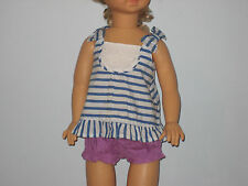 New GYMBOREE Size Newborn White Blue Striped Dress with Purple Diaper Cover