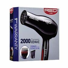 Red by Kiss 2000 Ceramic Ionic Blow Hair Dryer + 2 Bonus Detangler Pik #BD06U
