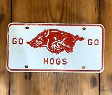 Vintage Steel Arkansas Razorbacks Go Hogs Go License Plate