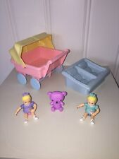 Playskool Dollhouse Furniture----2 Girl Dolls, Double Stroller & Baby Seats