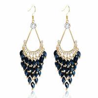 Women Bohemian Jewelry Elegant Bead Long Tassel Hook Drop Dangle Earrings