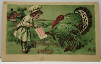 Thanksgiving Little Chef Giving Turkey a Birthday Card Postcard F12