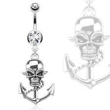 Anchor Dangle Navel Ring 316L Surgical Steel Pirate Skull