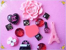 DIY13pcs Large Pink flower Kawaii cell phone case cabochon Deco Kit Set