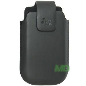 NEW BlackBerry Genuine Curve 9300 Swivel Leather Pouch Case w Swivel Belt Clip