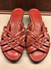 ❤️ Clarks Full Leather Strappy Summer Comfy Sandals Flats Size 4.5 NEW red Wedge