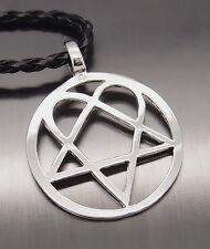 "Heartagram Star Heart Pentagram Men Boy Pewter Pendant with 20"" Choker Necklace"
