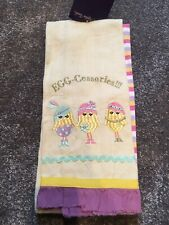 SET OF TWO 100% COTTON TEA TOWELS/DRYING UP - EGG-CESSORIES LOGO