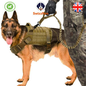 Tactical Dog Harness Military No-Pull Adjustable Training Vest & Leash SWIZZPETS