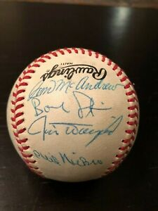 Signed Baseball with 16 Signatures including Jim McAndrew! Others Unknown