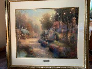 Thomas Kinkade - Cobblestone Lane 1  - matted , framed and certified