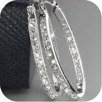 1Pair/set Charm Silver&Gold Big Circle Hoop Earrings Women Wedding Ear Clip