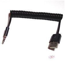 USB Maschio a 3.5mm Audio Stereo Jack Per Cuffie Spina Cavo a spirale a molla per mp3