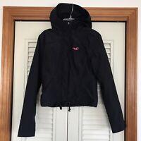 Hollister Women All-Weather Hooded Jacket Coat- Navy Pink Fleece Lined XS EUC