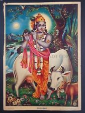 Vintage Print FLUTE KRISHNA WITH COW Mohan Sharma 14in x 20in #798