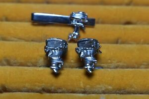 Vintage Cufflinks Swank Outboard Motors Cuff Links With Tie Bar Moving Prop!