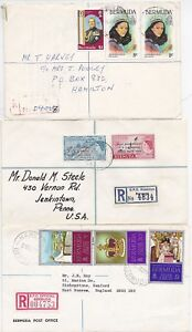 # 1956/77 3 x QE2 BERMUDA REGISTERED COVERS - GPO & CHRISTMAS CARD CONTENTS IN 2