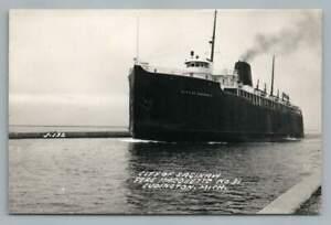 Pere Marquette #31 LUDINGTON Michigan RPPC Steamer City Saginaw Photo Ferry 40s