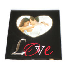 Black glass and mirrored photo frame 'love' impressions by juliana