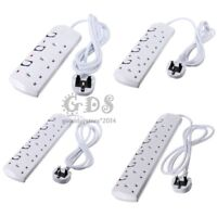 3M 2-6Way Power Extension Cable Wall Mains Switch Socket Lead Plug Adapter White