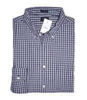 J Crew Factory - Mens S - Slim Fit - NWT - Navy Blue Plaid Washed Cotton Shirt