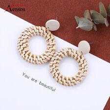 Trendy Handmade Wood Earring Women Rattan Circle Geometric Dangle Drop Earrings