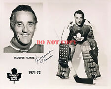 Jacques Plante Signed 8x10 Photo Autographed Maple Leafs HOF