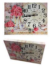 Wanduhr Holzuhr 40 x 30 cm Rosen Küchenuhr Modern London  Nostalgie Design XXL