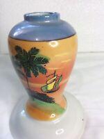 """Vintage Japan Porcelain Lusterware Ginger Vase  5 """" Hand Painted Beach N/Lid EXC"""