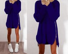 Women Winter Long Sleeve Jumper Tops Sweater Loose Zipper Tunic Mini Dresses