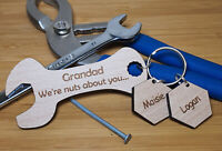 PERSONALISED FATHER'S DAY GIFT KEYRING SPANNER DADDY DAD GRANDAD GIFTS FOR HIM