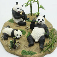 Panda Family Eat Bamboo Scene Statue Figure Animal Model Fun Toy Collector Decor