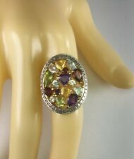 Ross Simons Sterling Silver 18k Gold Plated Multi Gemstone Ring Size 7 R179