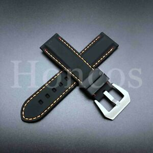 18-24MM Soft Black Rubber Strap Buckle Replacement Fits Omega Sea Master Vintage