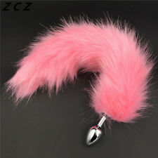 Butt pink Tail plug jewel Fun Role pet Play Game Toy Stone Party UK steel gear
