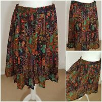 C&A Vintage 70s Style Boho Hippie Multicoloured Floral Paisley Midi Skirt 20