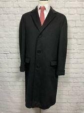Vintage (40L) Men's Black Herringbone 100% Wool Top Coat Jacket