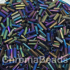 50g glass bugle beads - Multi colour Iris - approx 6mm tubes, metallic rainbow