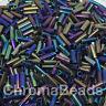 50g glass bugle beads - Multi colour Iris - approx 6mm tubes, metallic rainbow