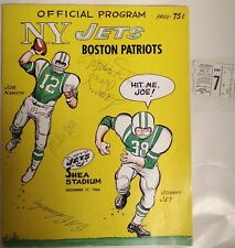 1966 New York Jets versus Patriots Program and Stub Signed by 9 Super Bowl III