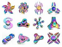 Metal Rainbow Fidget Tri Spinner Finger Hand Desk EDC Pocket Toy Gift Gyro ADHD