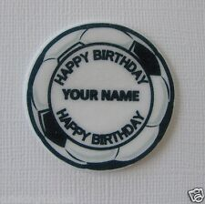 12 PRE CUT PERSONALISED EDIBLE RICE WAFER PAPER CARD SOCCER BALL CUPCAKE TOPPERS