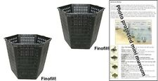 2 X 3L hexagon plastic aquatic pots baskets for water plants and pond & guide