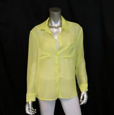 MOSSIMO NWT Lime Green Textured Semi-Sheer Button Front Long Sleeve Shirt sz S