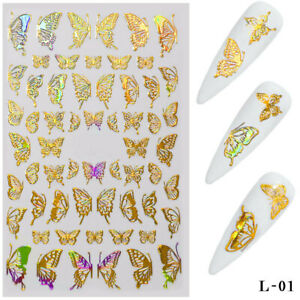 Nail Art Sticker Holographic Butterfly Hollow Decals Lase Gel Polish Tips Decor