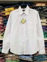 S M L XL 2XL 3XL 4XL White Dress Shirt Mens Button Regular Fit Long Sleeve Solid
