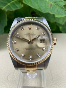 Rolex Datejust 16233 Champagne Diamond Dot Dial 36mm 1993/4 Watch Only