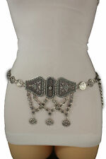 Women Silver Metal Moroccan Fashion Belt Coins Charms Blue Flower Beads Size S M
